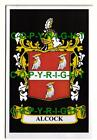 ALCOCK Family Coat of Arms Crest - Choice of Mount or Framed