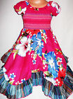 GIRLS CERISE PINK MULTI COLOUR FLORAL PRINT BOHO GYPSY RAG HEM PARTY DRESS