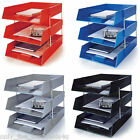 3 x Letter Filing Trays In/Out + Risers - COMPLETE SET - BLUE / BLACK / RED