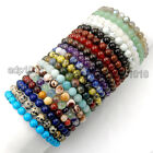 8mm Handmade Mixed Natural Gemstone Round Beads Stretchy Bracelet Healing Reiki image