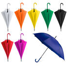"Pack of 2 x 42"" Bright Colourful Plastic Crook Handle Umbrella Brolly Wedding"