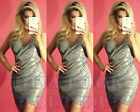 Womens Sexy Silver Grey Metalic Ruched Evening Party Wrap Bodycon Dress
