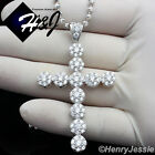 "20""24""30""MEN 925 STERLING SILVER 3MM MOON CUT BEAD CHAIN ICED CROSS PENDANT*P110"
