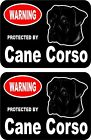 2 Warning protected by Cane Corso guard dog breed decals sticker stickers