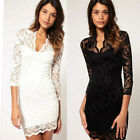 Womens Lady Mini Dress V-neck Lace Slim Ladies Cocktail Clubbing Evening Party