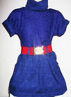 GIRLS INDIGO PURPLE LACE KNIT CONTRAST WINTER PARTY TUNIC DRESS TOP with BELT