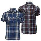 NOW 9.95! MENS SHORT SLEEVE COTTON CHECK SHIRT CASUAL TOP (BRASS) BY BRAVE SOUL
