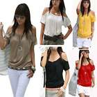 Sexy Women's Short Sleeve Hollow Shoulder Loose T Shirt Blouse Tops Casual Tee