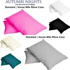 UK Plain Dyed 68 Pick PolyCotton Housewife Pillow Case Cases Single/Pair Cover