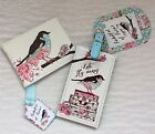 Luggage Tag / Label & Travel Pass Wallet Lets Fly Away Floral & Bird Design