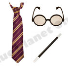 CHILDRENS HARRY POTTER STRIPED TIE GLASSES WAND GRYFFINDOR BOOK WEEK FANCY DRESS