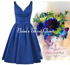 BRIDGET Sapphire Blue 50's Satin Bridesmaid Wedding Knee Length Dress UK 6 -18