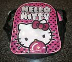 "Nwt Hello Kitty Pink Black Hearts W/ Glitter Bow Small 10"" Girls Backpack"