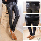 Hot Fashion Mens Slim Fit Skinny Leather Jeans Motor Biker Trousers Pants