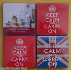 KEEP KALM AND CARRY UNION JACK, RED, Simply Scrumptious SET of 4 Coasters