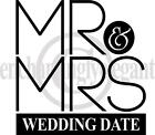 Custom Wedding Date Mr & Mrs Vinyl Decal Wall Sticker Words Lettering Art Decor