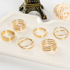 Sell Well Fashion Style Finger Ring 6 pcs /1 set Punk Gold Plated Ring Size 6-8