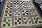 "Victorian Quilt - BEAR'S FOOT Pattern- 66""x78""- Brown & Green Calico -SALE PRICE"