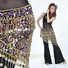 F150 Tribal Vintage Belly Dance Hip Scarf with Gold Coins Belt Skirt Costume