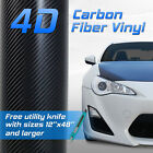 4D Professional Grade Black Carbon Fiber Vinyl Wrap Bubble Free Custom Cuts