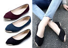 New Womens Flats Loafers Comforts Light Faux Suede Pointed Metal Tip Shoes
