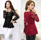 Hipster Women's Casual Lace Blouse Ladies Long Sleeve Shirt Tops Sweet Glamorous