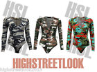 New Ladies Women's Casual V Neck Long Sleeve Army Camouflage Top Plunge Bodysuit