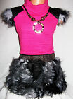 GIRLS BRIGHT PINK QUILTED RACCOON FUR SPARKLE WINTER PARTY DRESS with NECKLACE
