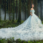 Off Shoulder Applique Train Wedding Dresses Quinceanera Formal Prom Party Gown