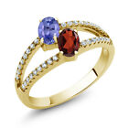 1.36 Ct Blue Tanzanite Red Garnet Two Stone 18K Yellow Gold Plated Silver Ring
