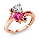 1.50 Ct Pink Created Sapphire and Aquamarine 18K Rose Gold Plated Silver Ring