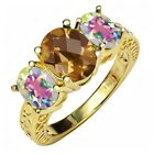 3.00 Ct Checkerboard Quartz and Mystic Topaz 18K Yellow Gold Plated Silver Ring