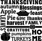 Thanksgiving Autumn Blessings Vinyl Wall Art Decal Sticker Lettering Words Quote