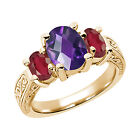 2.90 Ct Oval  Purple Amethyst African Red Ruby  YG Plated Silver  Ring