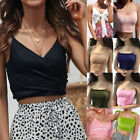 Fashion Summer Women Sexy V-Neck Sleeveles Solid Casual Wrapped Chest Blouse