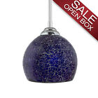Nicola Medium Round Stem Hung Pendant, Chrome with Crackled Glass Shade - SALE
