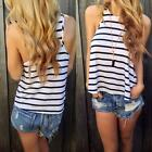Fashion Casual Women Vest Sleeveless Striped Loose Summer Tank Tops Blouse Shirt