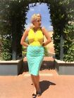 50s Style MINT POLKA DOT Print High Waist Bombshell Wiggle PENCIL Skirt