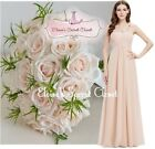 ELODIE Nude Blush Corsage Chiffon Maxi Prom Evening Bridesmaid Dress UK 6 -18