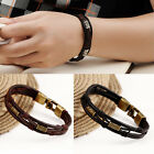 Mens Braided Genuine Leather Stainless Steel Cuff Bangle Bracelet Wristband New