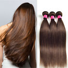 3 Bundles Brazilian Virign Straight Human Hair Weft Weave Extensions 150g Brown