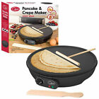 "1000W 12"" ELECTRIC PANCAKE CREPE MAKER NON STICK PLATE + FREE ACCESSORIES"