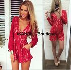 Sexy Red Lace Summer Ibiza Festival Long Sleeves Plunge V neck Playsuit Jumpsuit