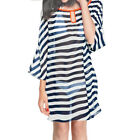 Women Keyhole Front See Through Loose Stripes Chiffon Dress