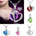 Wedding Bridal Shiny Fashion Women Silver Heart Crystal Pendant Necklace Jewelry