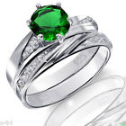 Infinity Celtic Emerald Green Round Engagement Wedding Sterling Silver Ring Set