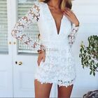 Fashion Womens Long Sleeve Lace Tunic Jumpsuits Rompers Short pants Playsuit