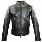 Armani Jeans Mens Buffalo Leather Biker Jacket Motorcycle Bomber B6B29 MD 12 BLK