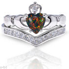 Heart Celtic Black Fire Opal Claddagh Wedding Engagement Silver Two Ring Set