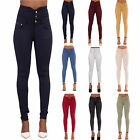 New Women 7 Colour High Waist Pants Skinny Fit Jeans Stretchy Trousers Size 6-18